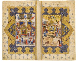 11. an illustrated and illuminated double page from a manuscript of firdausi's shahnameh:suleyman and bilqis enthroned with courtiers, animals, birds and jinns,and the illuminated openingof the baysunghuri preface, persia, safavid, shiraz, 16th century