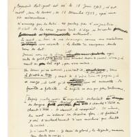 19. cocteau. — [radiguet]. préface du bal du comte d'orgel. manuscrit autographe signé [1924], 6 p. in-4. premier jet