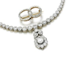 22. diamond tiara and a seed pearl and diamond brooch, early 20th century and later