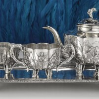 509. a chinese export silver three-piece tea set and tray, circa 1900 |