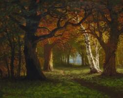 77. albert bierstadt | forest near saratoga