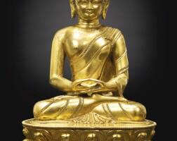 75. 清十八世紀 鎏金銅釋迦牟尼佛坐像