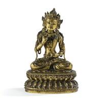 22. importante statuette de bodhisattva en bronze doré marque et époque yongle  