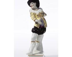2. a rare meissen commedia dell'arte figure the porcelain circa 1725, the decoration slightly later