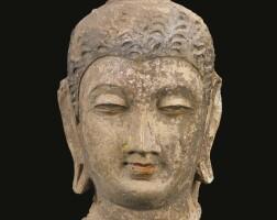 1303. a stucco head depicting buddha ancient region of gandhara, kushan period, 4th / 5th century