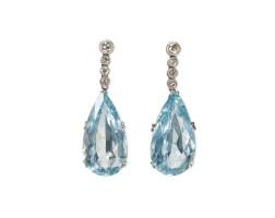 476. pair of platinum, aquamarine and diamond earrings