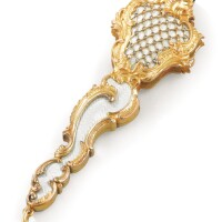 211. a jewelled gold and enamel lorgnette, carl blank, st petersburg, 1904-1908