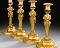 8. a set of four gilt-bronze candlesticks, louis xv, circa 1767-1770, by pierre gouthière, one signed gouttier. siseleur. doreur. du. roy. quay. peltier. |