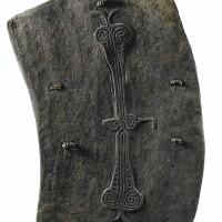 34. bouclier d'archer, région de lumi, monts torricelli, province du sepik de l'ouest, papouasie nouvelle-guinée