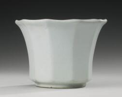 49. a korean white-glazed faceted brush pot joseon dynasty, 18th century