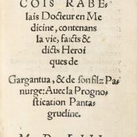 108. rabelais, françois. les œuvres... 1553. petit in-8. reliure de cuzin en maroquin rouge, doublée de maroquin noir.