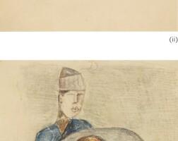 64. shakir hassan al-said   i) untitled (two figures)ii) untitled (portrait of a man)