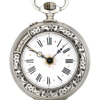 212. unsigned | 銀製蟋蟀雕刻懷錶備鬧鐘功能,年份約1900。