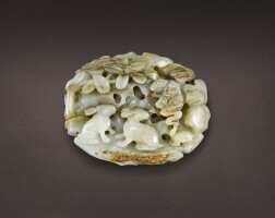 45. a large celadon and russet jade 'rabbit' plaque song – jin dynasty