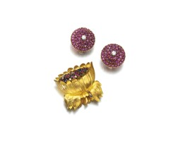 308. ruby, sapphire and diamond brooch and pair of ear clips