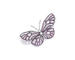 1602. diamond and rhodolite garnet 'butterfly' brooch, carnet