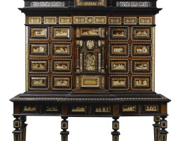 48. a spanish baroque style metal-mounted rosewood, bone and tortoiseshell inlaid ebonised cabinet on stand, mid-19th century