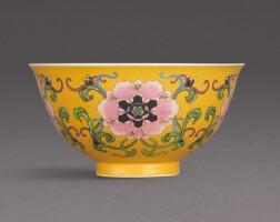 3012. a superb yellow-ground falangcai bowl black-enamel yuzhi mark and period of kangxi |