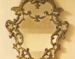 9. an italian rococo carved giltwood mirror rome or genoa, circa 1745