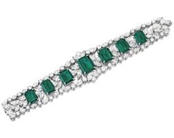 1789. emerald and diamond bracelet