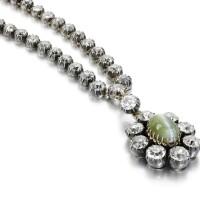 16. diamond and cat's eye chrysoberyl pendant necklace, second half 19th century