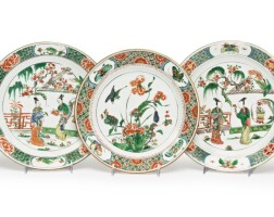 1104. sixchinese export famille-verte plates and a circular dish late 17th / early 18th century