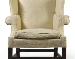 6038. chippendale carved mahogany wing armchair, philadelphia, circa 1770