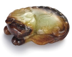 3762. a yellow and russet jade figure of a mythical beast ming dynasty