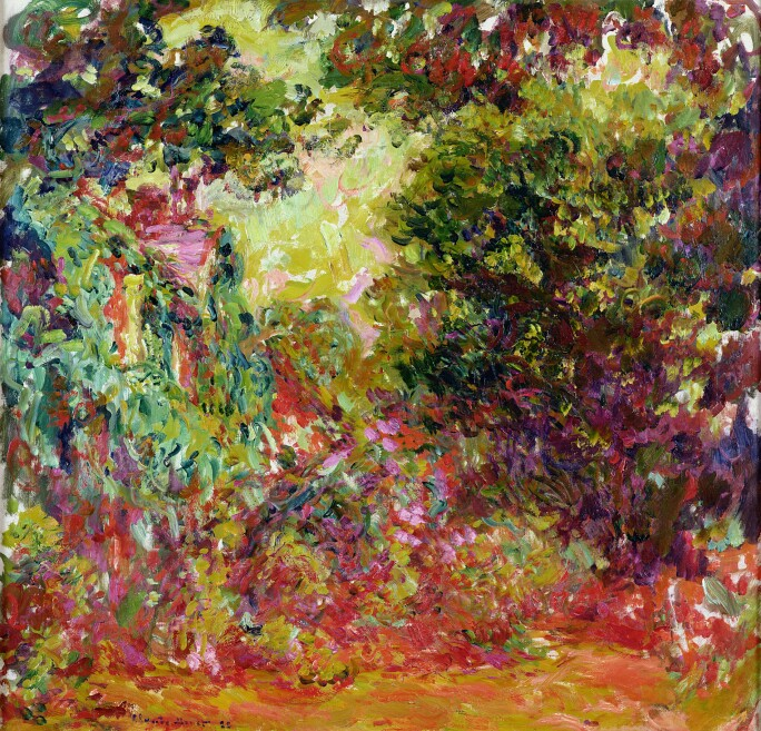 A painting of Monet's garden at Giverny with a rose garden in a bold palette of greens, reds and purples.