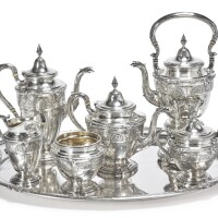12. an american silver florenz pattern six-piece tea and coffee set with tray, gorham mfg. co., providence, ri, 1928 |