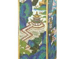 3644. 清乾隆 掐絲琺瑯山水紋琮式瓶  