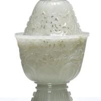 1534. 十九 / 二十世紀 青白玉痕都斯坦式透雕蓮紋高足蓋爐  