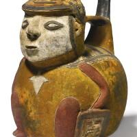3. paracas polychrome figural vessel, ocucaje style middle/lateparacas, ca. 500-100 b.c.