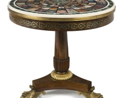 6. a george iv brass-inlaid rosewood specimen marble center table