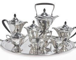 6. an american silver seven-piece tea and coffee set withsimilar silver-plated tray, tiffany & co., new york, circa 1930 |