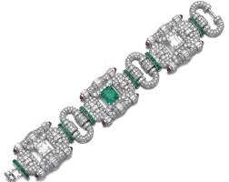 299. attractive emerald, ruby and diamond bracelet, circa 1930