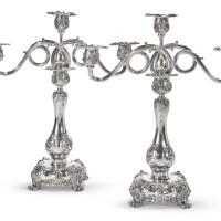 27. a pair of american silver three-light candelabra, tiffany & co., new york, circa 1902-07  