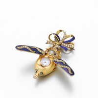 60. swiss | a yellow gold, enamel and diamond set scarab form pendant watch with pin circa 1875