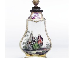 11. a rare meissen flask and stopper from a toilet garniture circa 1740-45