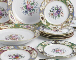 51. two russian porcelain platters and twelve plates from a service for grand duke mikhail pavlovich, imperial porcelain manufactory, st. petersburg, period of nicholas i (1825-1855)