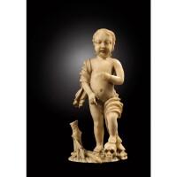 2. memento mori en ivoire représentantle christ enfant france, xviie siècle