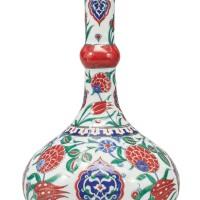 194. a turkish iznik-style pottery polychrome bottle vase,modern
