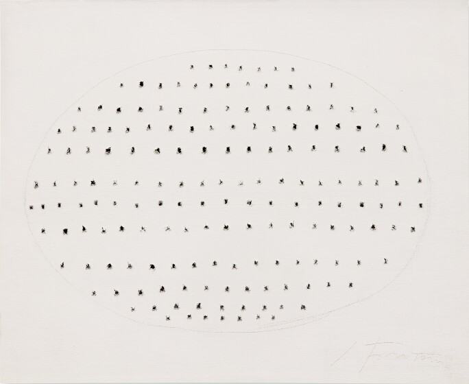 Lucio Fontana, Concetto Spaziale, 1968. Waterpaint and pencil on canvas.