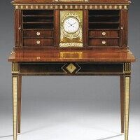 49. a gilt-bronze and brass mounted mahogany writing desk with clock, attributed to johann christian härder brunswick, circa 1805