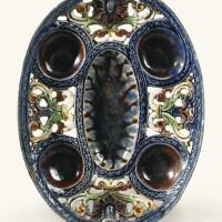 2. coupe ovale ajourée à épices en terre vernissée de la suite de palissy (pré d'auge ou avon) du début du xviie siècle