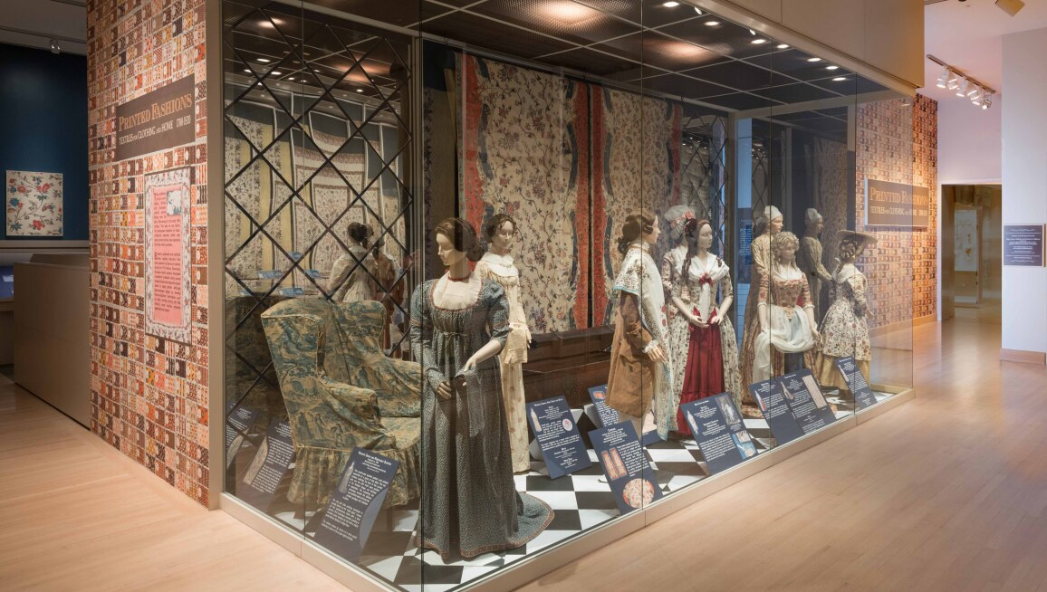 Installation view of Printed Fashions: Textiles for Clothing and Home