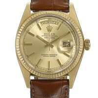 2. rolex | day-date, reference 1803 yellow gold wristwatch with day and date circa 1972