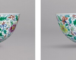3103. 清雍正 鬪彩花卉紋盌一對 《大清雍正年製》款 |