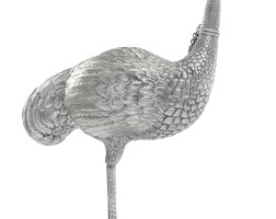 1. a german silver model of an ostrich, marks overstruck, early 20th century