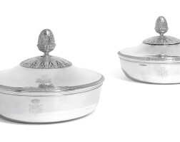 1. a matched pairofaustrian/frenchsilver vegetable dishes and covers, one, franz köll, vienna, the other, martin-guillaume biennais, paris, respectively circa 1810 and 1809-19 |